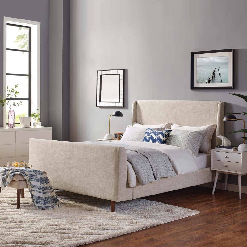 Aubree Queen Upholstered Fabric Sleigh Platform Bed in Beige
