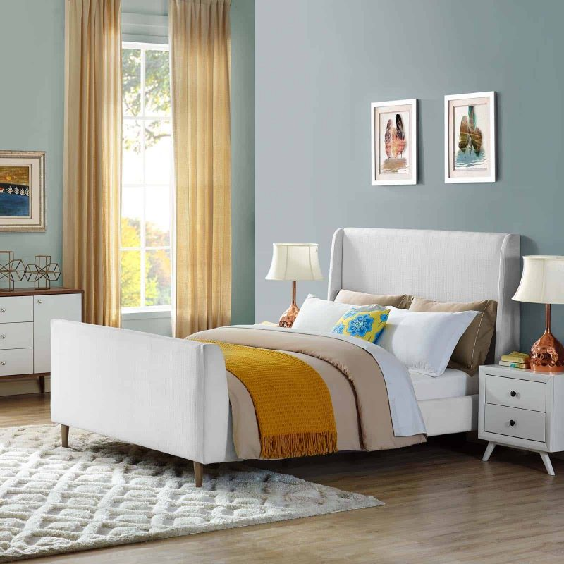 Aubree Queen Upholstered Fabric Sleigh Platform Bed in White