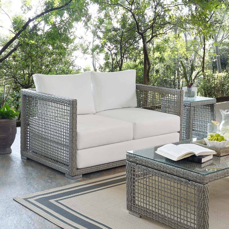 Aura Outdoor Patio Wicker Rattan Loveseat in Gray White