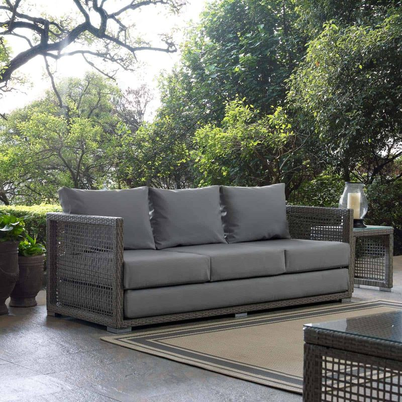 Aura Outdoor Patio Wicker Rattan Sofa in Gray Gray