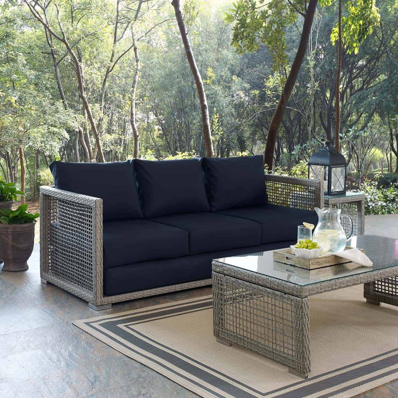 Aura Outdoor Patio Wicker Rattan Sofa in Gray Navy