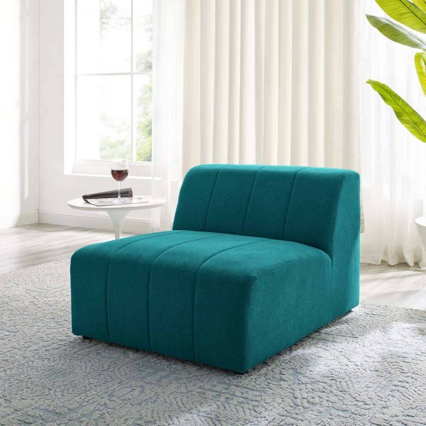 Bartlett Upholstered Fabric Armless Chair in Teal