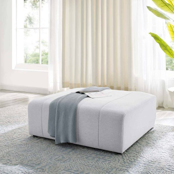 Bartlett Upholstered Fabric Ottoman in Ivory