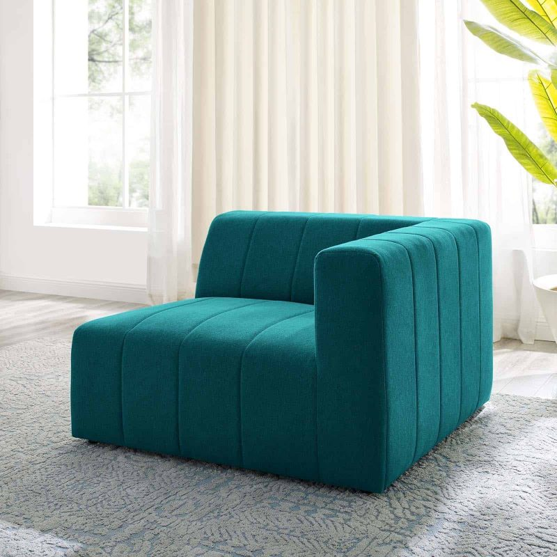 Bartlett Upholstered Fabric Right-Arm Chair in Teal