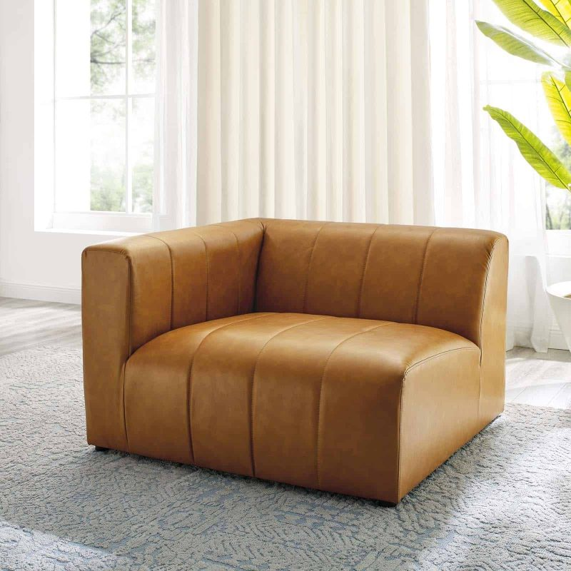 Bartlett Vegan Leather Left-Arm Chair in Tan