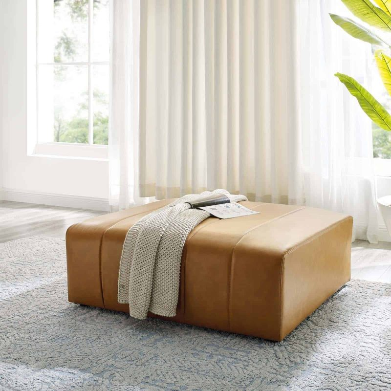 Bartlett Vegan Leather Ottoman in Tan