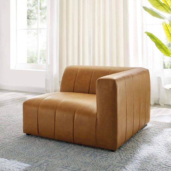Bartlett Vegan Leather Right-Arm Chair in Tan