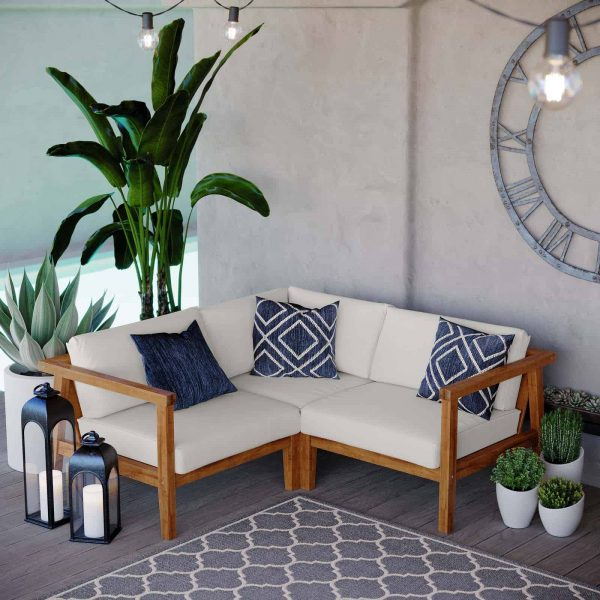 Bayport Outdoor Patio Teak Wood 3-Piece Sectional Sofa Set in Natural White