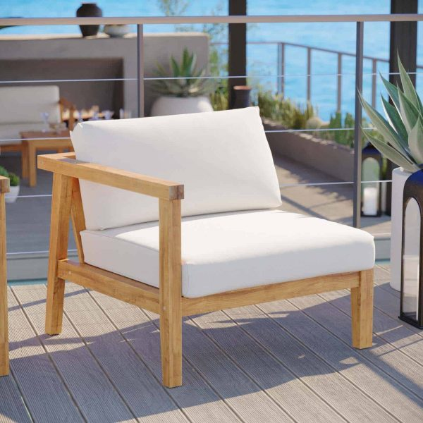 Bayport Outdoor Patio Teak Wood Left-Arm Chair in Natural White