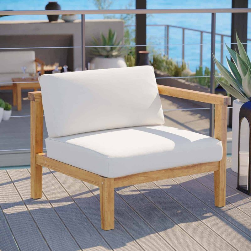 Bayport Outdoor Patio Teak Wood Right-Arm Chair in Natural White