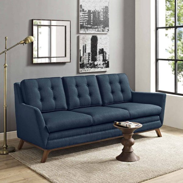 Beguile Upholstered Fabric Sofa in Azure