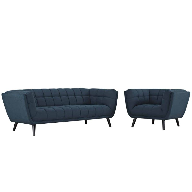 Bestow 2 Piece Upholstered Fabric Sofa and Armchair Set in Blue