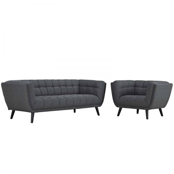 Bestow 2 Piece Upholstered Fabric Sofa and Armchair Set in Gray