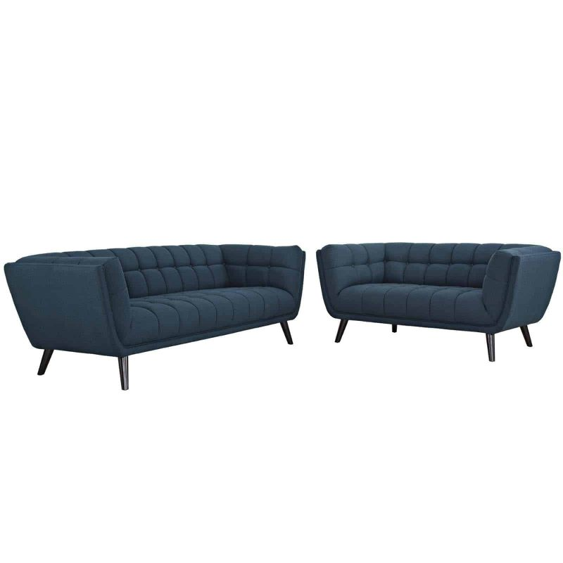 Bestow 2 Piece Upholstered Fabric Sofa and Loveseat Set in Blue