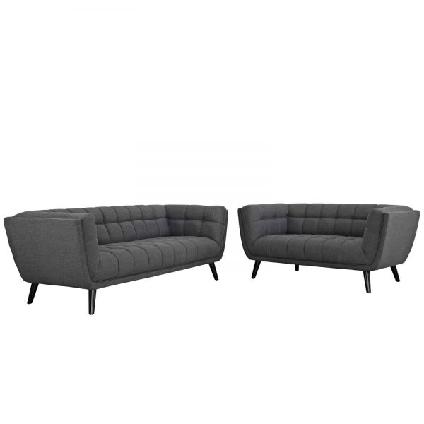 Bestow 2 Piece Upholstered Fabric Sofa and Loveseat Set in Gray