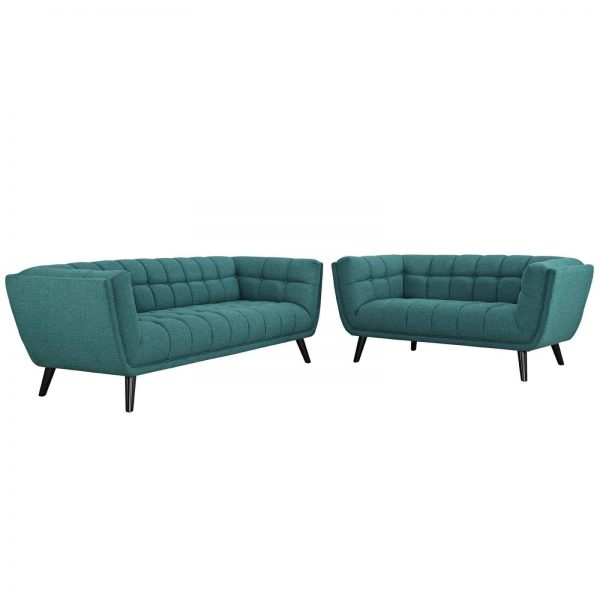 Bestow 2 Piece Upholstered Fabric Sofa and Loveseat Set in Teal