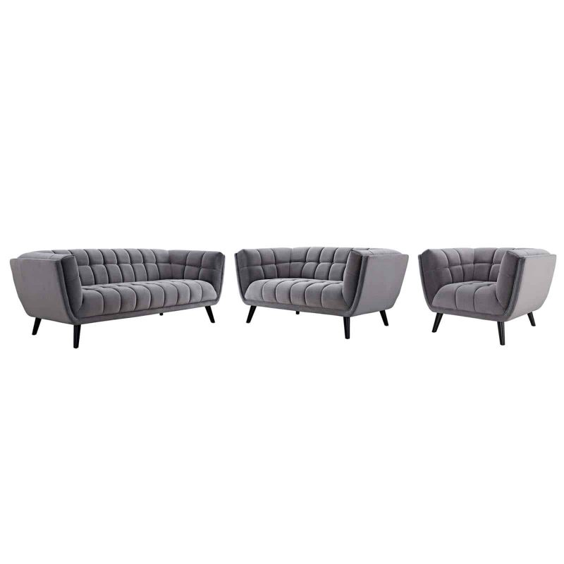 Bestow 3 Piece Performance Velvet Sofa Loveseat and Armchair Set in Gray