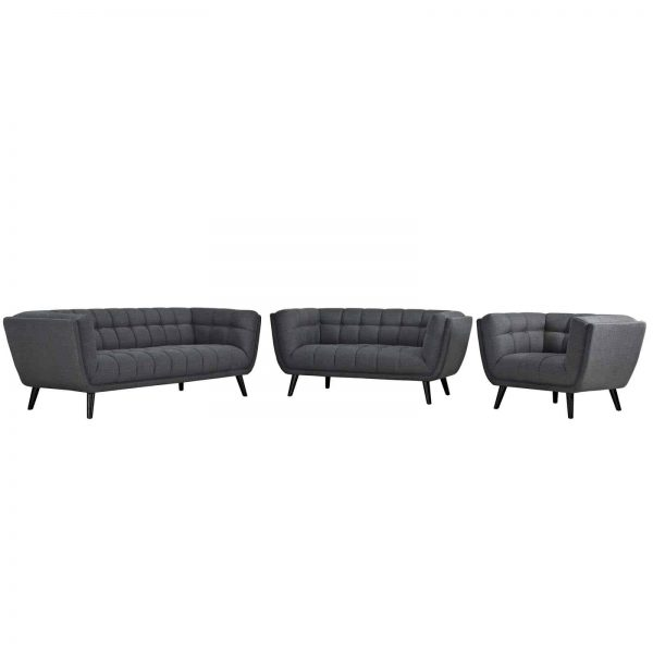 Bestow 3 Piece Upholstered Fabric Sofa Loveseat and Armchair Set in Gray