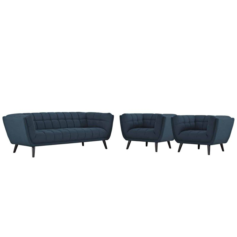 Bestow 3 Piece Upholstered Fabric Sofa and Armchair Set in Blue