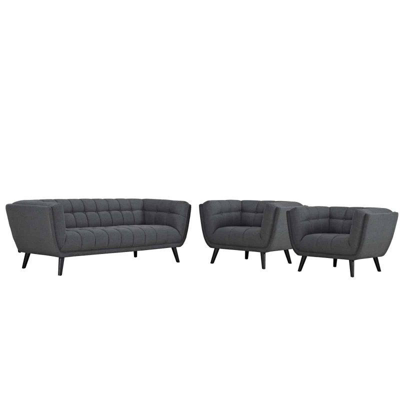 Bestow 3 Piece Upholstered Fabric Sofa and Armchair Set in Gray