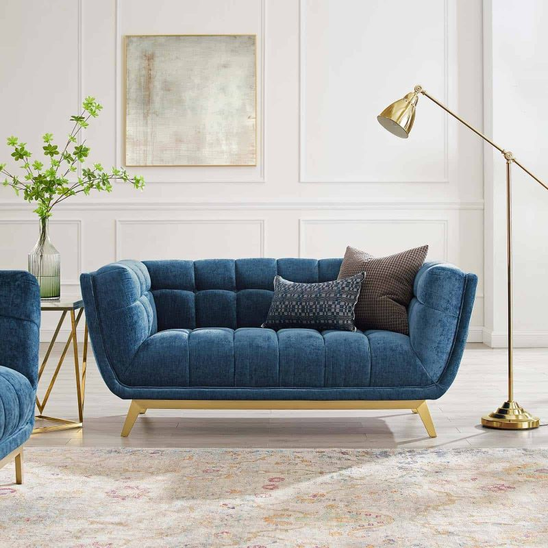 Bestow Crushed Performance Velvet Loveseat in Navy