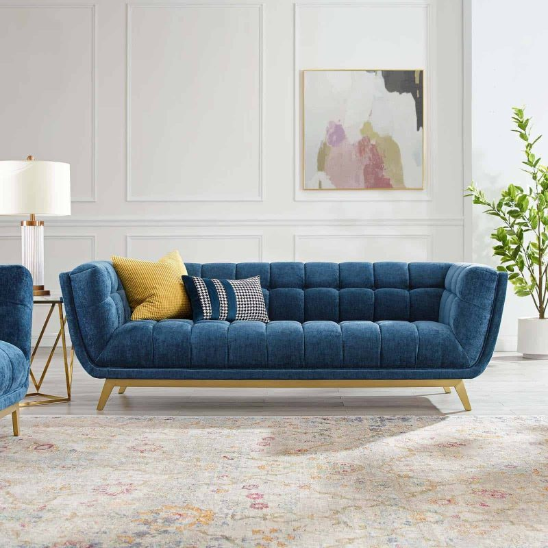 Bestow Crushed Performance Velvet Sofa in Navy