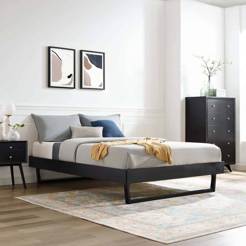 Billie Queen Wood Platform Bed Frame in Black
