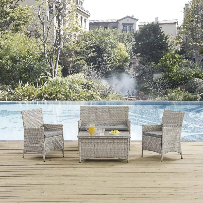 Bridge 4 Piece Outdoor Patio Patio Conversation Set in Light Gray Gray