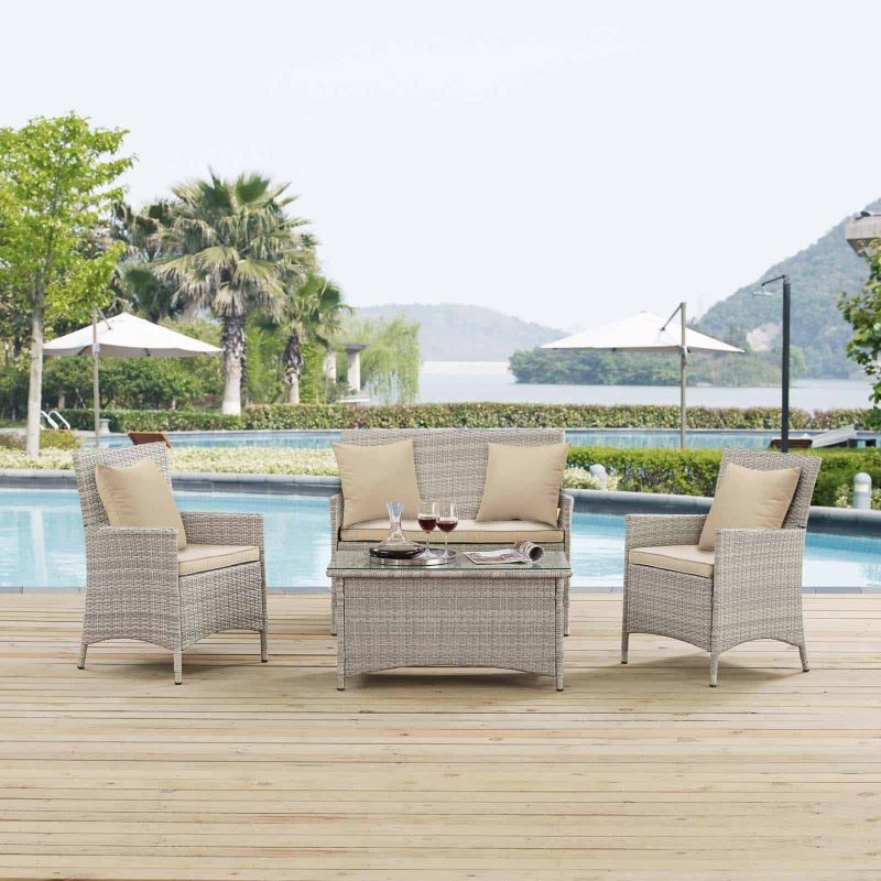 Bridge 4 Piece Outdoor Patio Patio Conversation Set with Pillow Set in Light Gray Beige