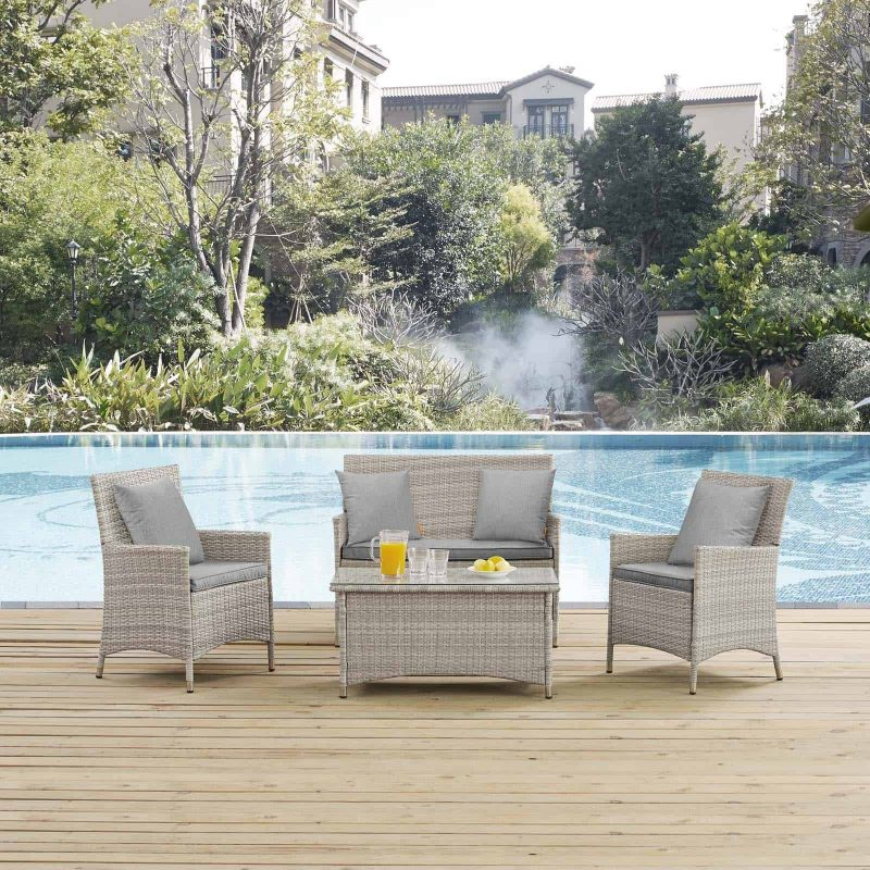 Bridge 4 Piece Outdoor Patio Patio Conversation Set with Pillow Set in Light Gray Gray