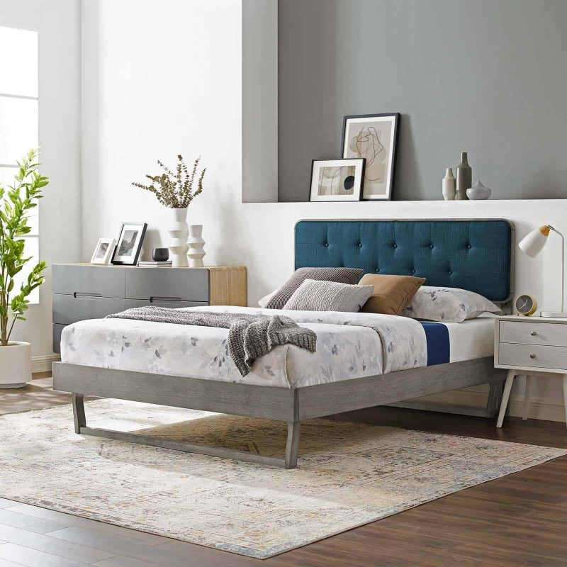 Bridgette Full Wood Platform Bed With Angular Frame in Gray Azure