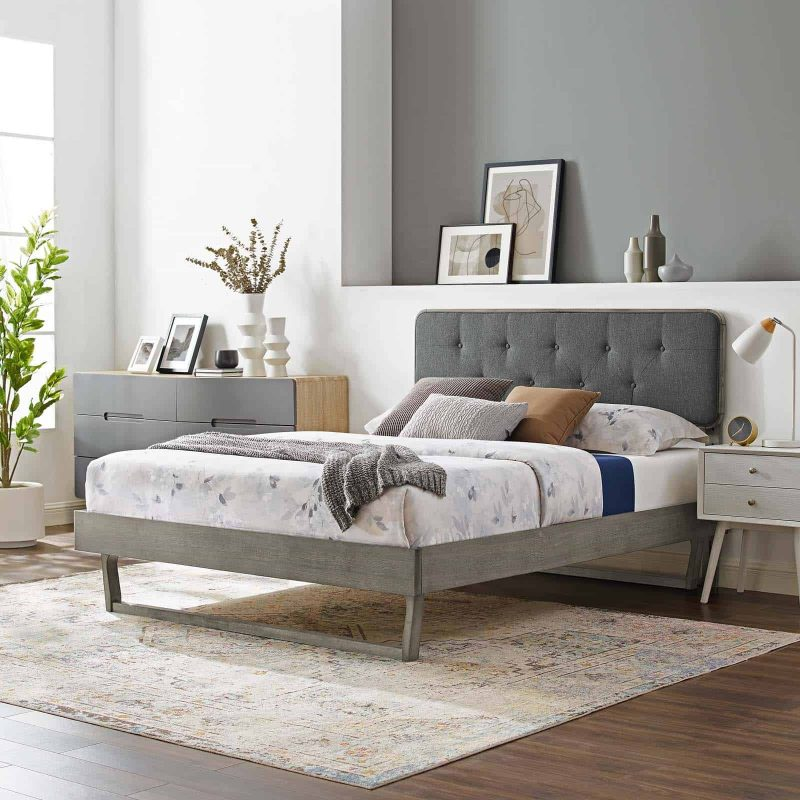 Bridgette Full Wood Platform Bed With Angular Frame in Gray Charcoal