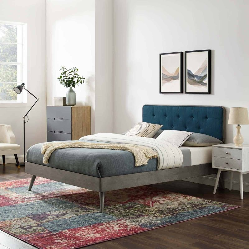 Bridgette Full Wood Platform Bed With Splayed Legs in Gray Azure