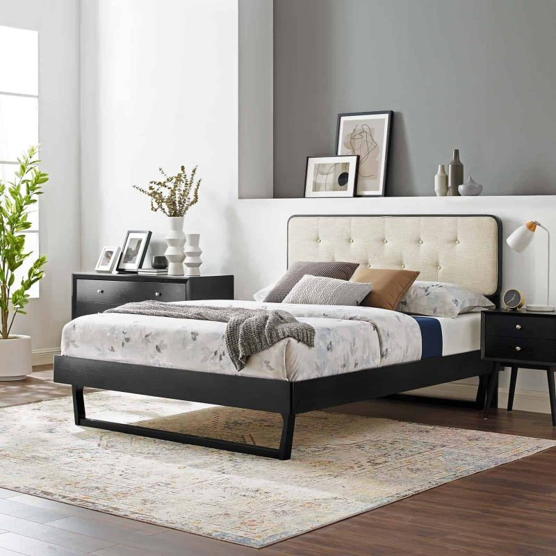 Bridgette King Wood Platform Bed With Angular Frame in Black Beige