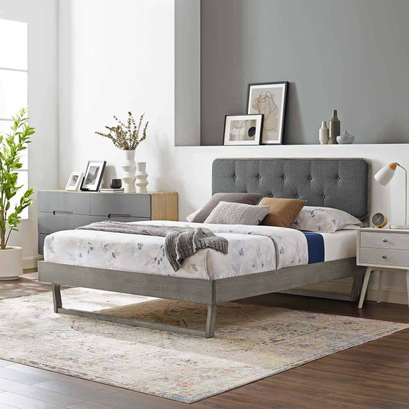 Bridgette King Wood Platform Bed With Angular Frame in Gray Charcoal