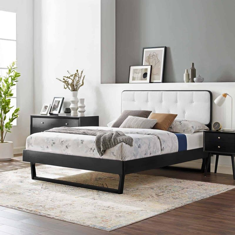 Bridgette Queen Wood Platform Bed With Angular Frame in Black White