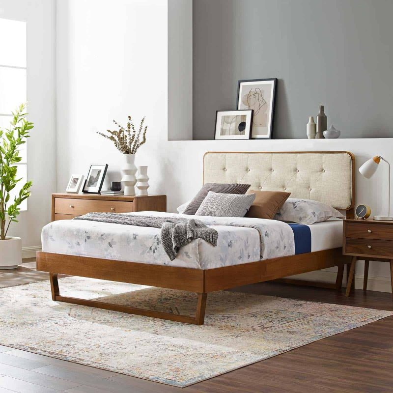 Bridgette Queen Wood Platform Bed With Angular Frame in Walnut Beige