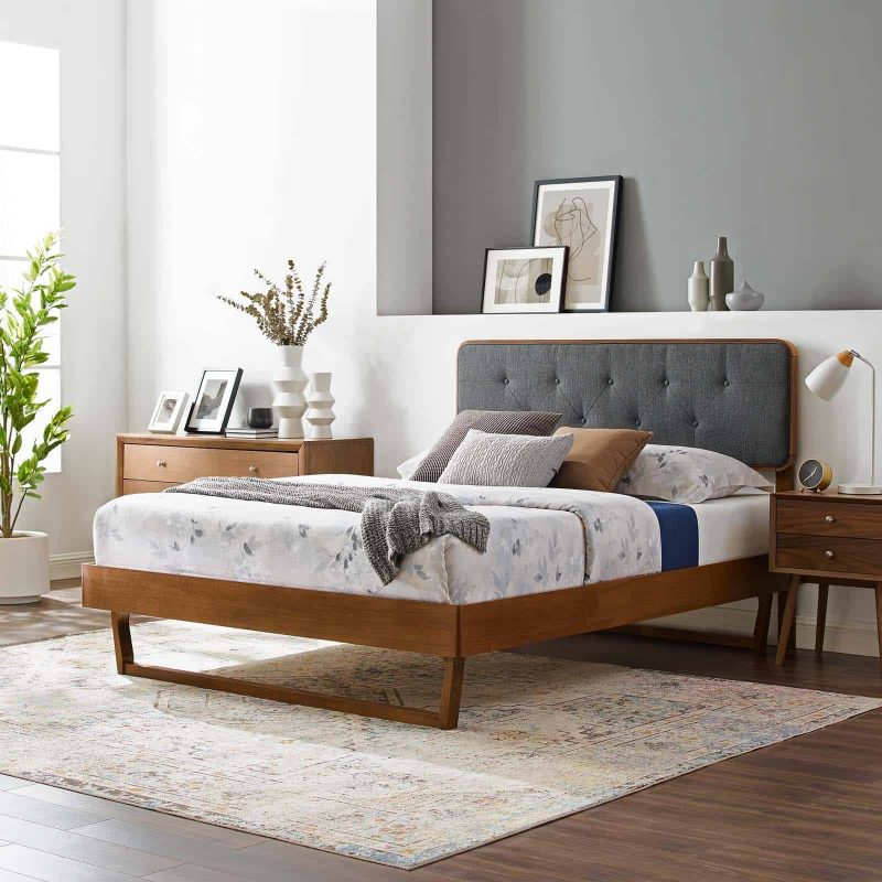 Bridgette Queen Wood Platform Bed With Angular Frame in Walnut Charcoal