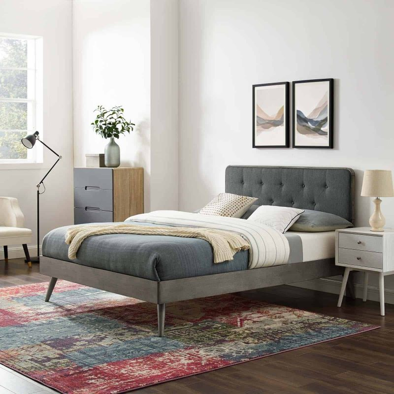Bridgette Queen Wood Platform Bed With Splayed Legs in Gray Charcoal