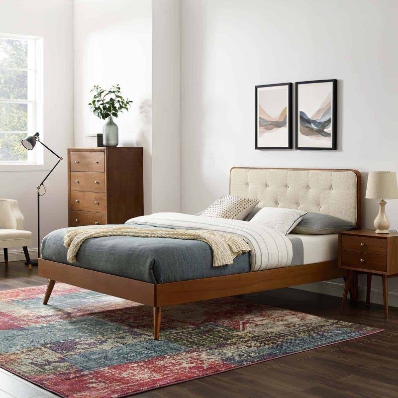 Bridgette Queen Wood Platform Bed With Splayed Legs in Walnut Beige