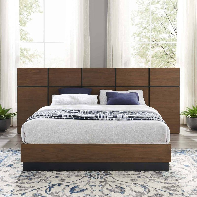 Caima Queen Platform Bed in Walnut