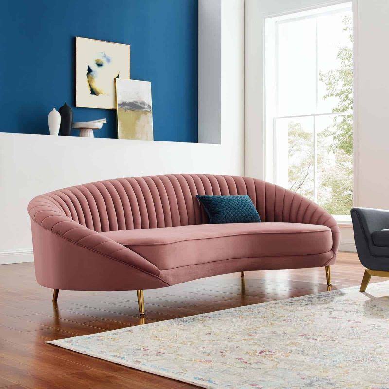 Camber Channel Tufted Performance Velvet Sofa in Dusty Rose