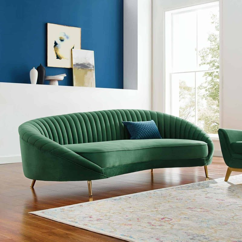 Camber Channel Tufted Performance Velvet Sofa in Emerald