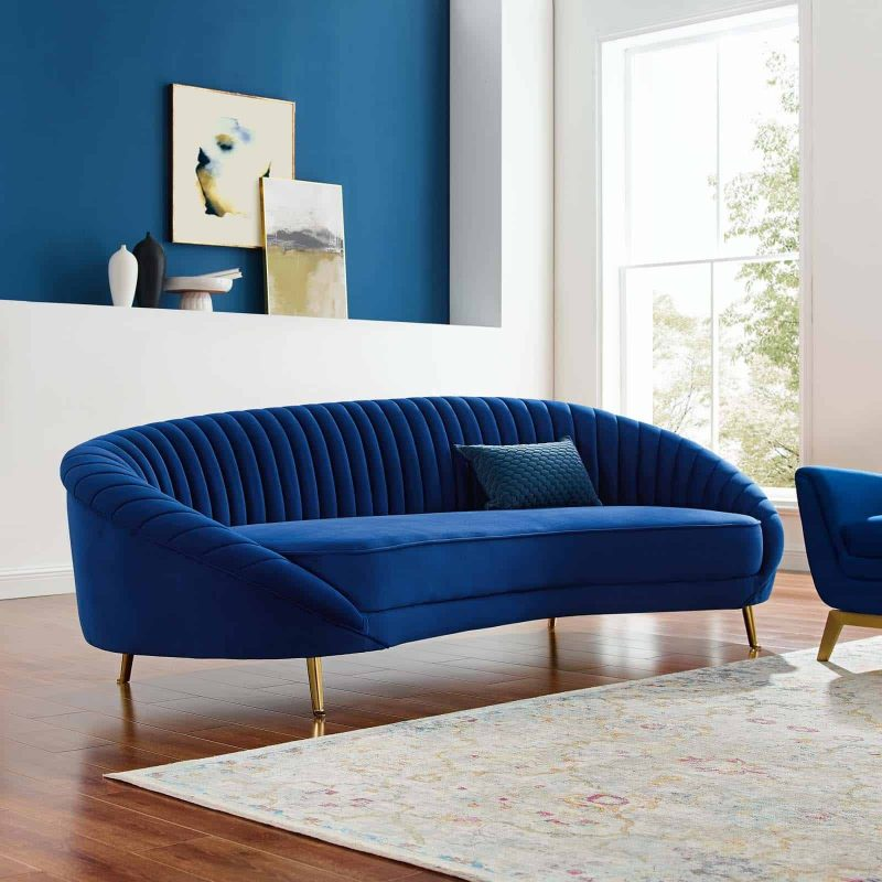 Camber Channel Tufted Performance Velvet Sofa in Navy