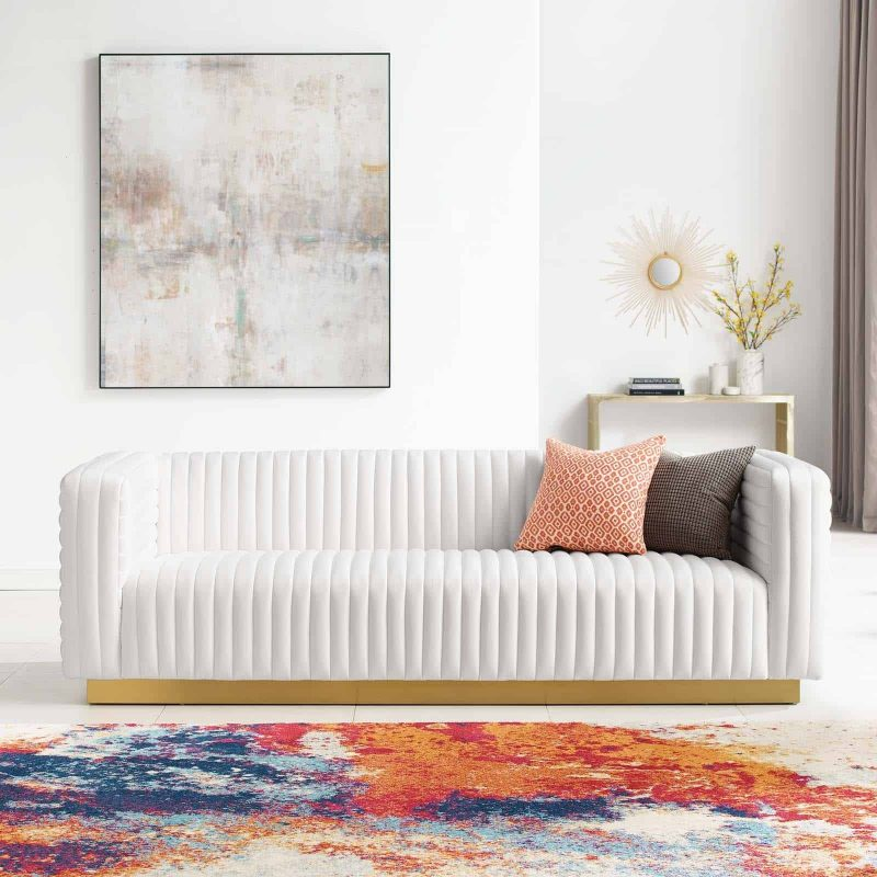 Charisma Channel Tufted Performance Velvet Living Room Sofa in White