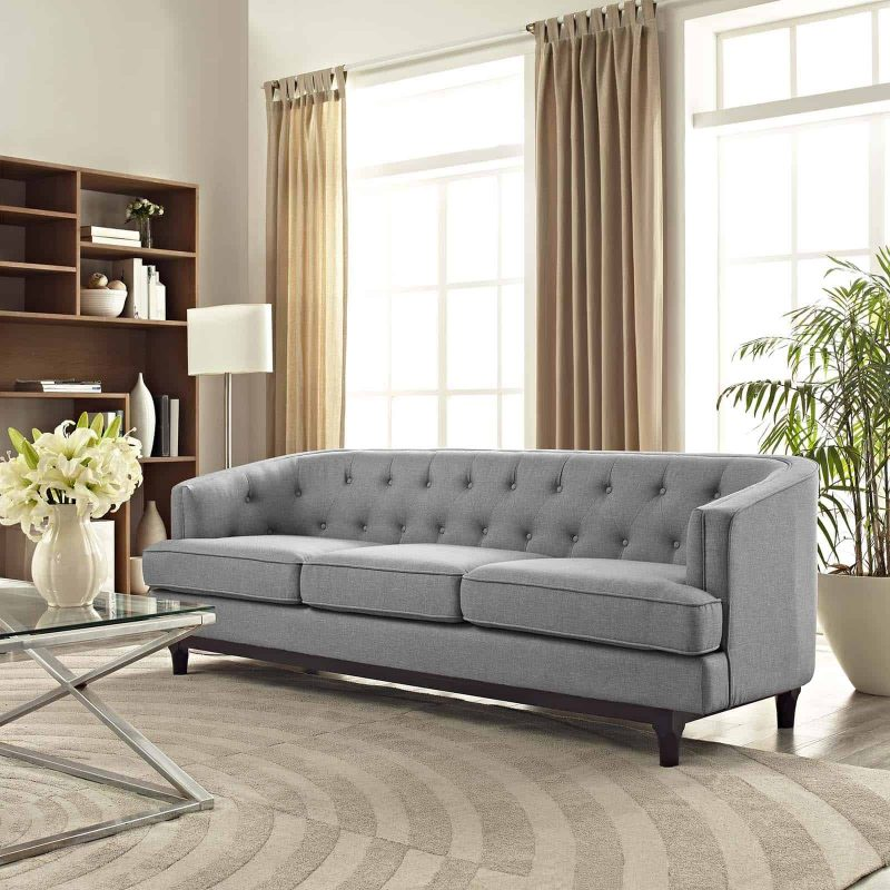 Coast Upholstered Fabric Sofa in Light Gray