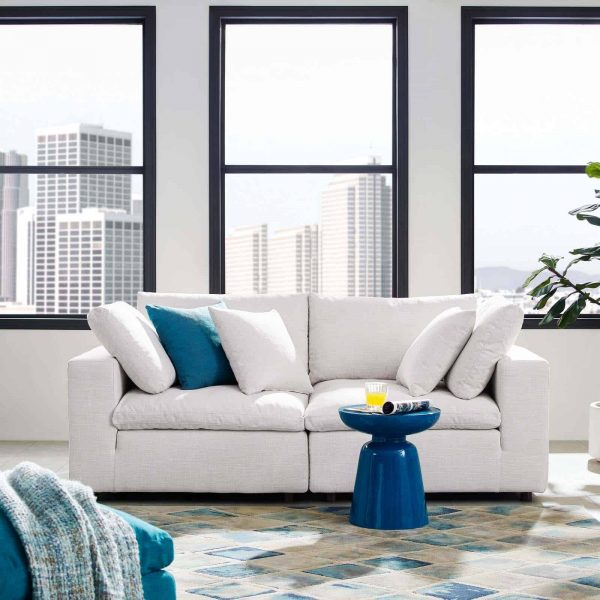 Commix Down Filled Overstuffed 2 Piece Sectional Sofa Set in Beige
