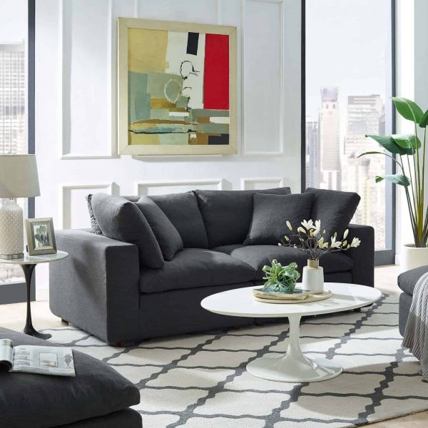 Commix Down Filled Overstuffed 2 Piece Sectional Sofa Set in Gray
