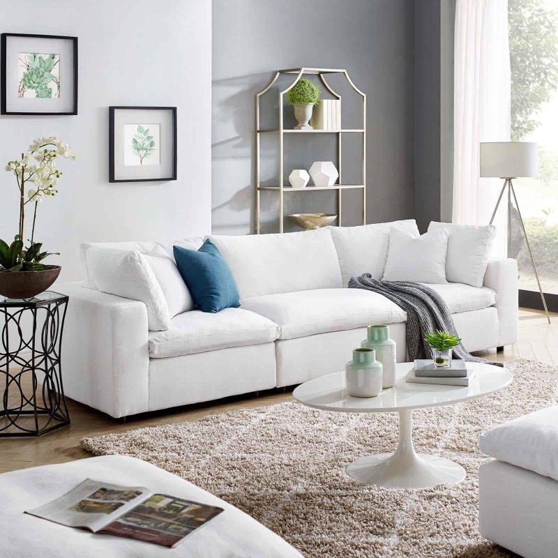 Commix Down Filled Overstuffed 3 Piece Sectional Sofa Set in White