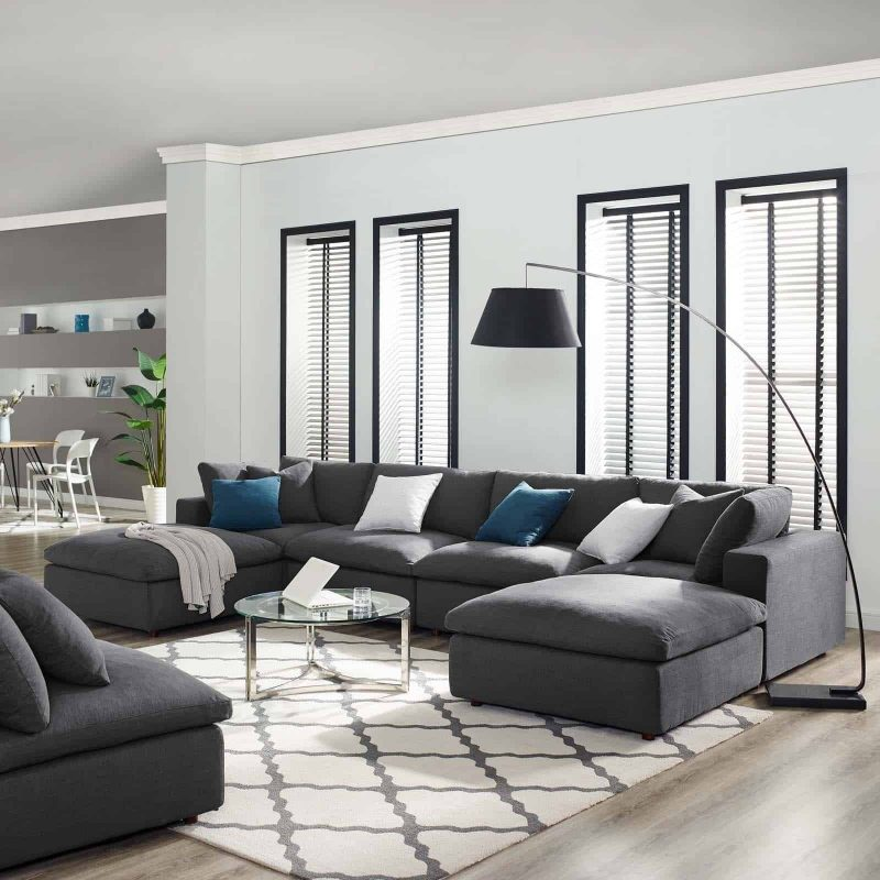 Commix Down Filled Overstuffed 6 Piece Sectional Sofa Set in Gray